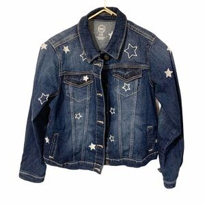 Wondernation Kids Dark Wash Star Print Denim Coat